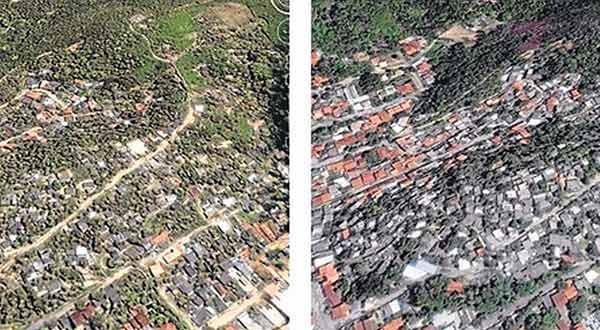 Favela do Caniçal, no Cafubá. Antes (2005) e depois (2015).