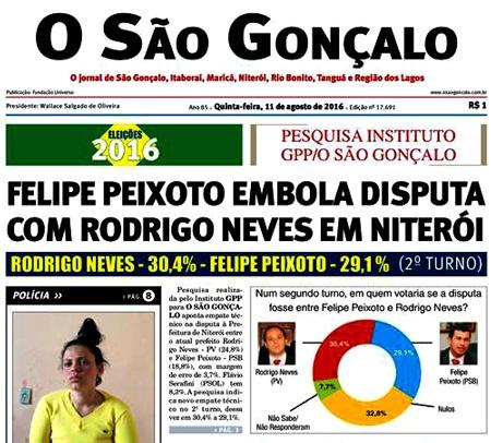 Manchete do jornal O São Gonçalo mostra candidatos à prefeito de Niterói empatados tecnicamente em pesquisa eleitoral