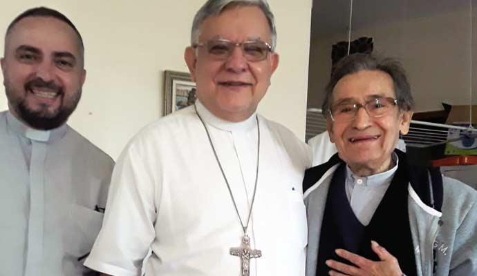 Monsenhor Elídio, arcebispo Dom José Francisco e o vigário geral Carmine Pascale